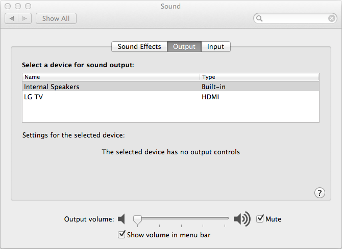 OS X Internal Speaker Volume